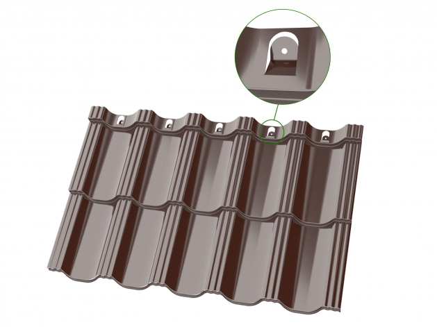 Double-modular metal tile Arctica